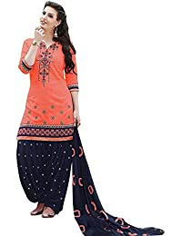 Nivah Fashion Women's Pure Cotton Embroidery Patiyala Salwar Suit (Free Size_Semi-Stich) G16