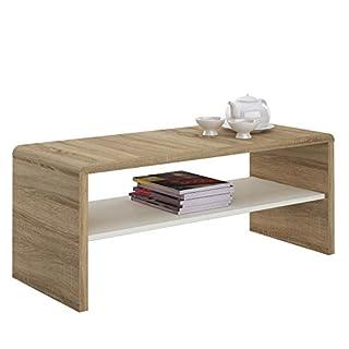 IDIMEX Table Basse LOUNA, Table de Salon rectangulaire ou Meuble TV de 100 cm avec 1 étagère Espace de Rangement Ouvert, en mélaminé décor chêne Sonoma et Blanc Mat