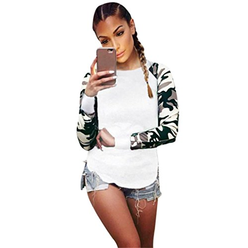 Bluse Damen Xinan Hoodie Camouflage Langarm T-Shirt (XXXXL, ❤️ Weiß) (Tunika Drucken Plus Größe)