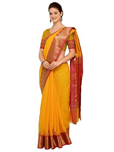 Applecreation Women\'S Art Silk Saree With Blouse Piece (Yellow_Free Size )