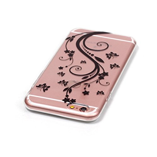 iPhone 6 Hülle,iPhone 6S Silikon Case,iPhone 6 Cover - Felfy Ultradünne Weicher Gel Flexible Soft TPU Silikon Transparent Hülle Schutzhülle Hülle Color Muster Farbmalerei Beschützer Hülle Handy Durchs Blumen-Rebe Cas