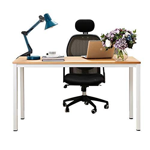 Need Computertisch Schreibtisch 138x55cm PC Tisch Bürotisch Arbeitstisch Esstisch für Home Office,Teak & Weiß AC3BW-140-NEW -