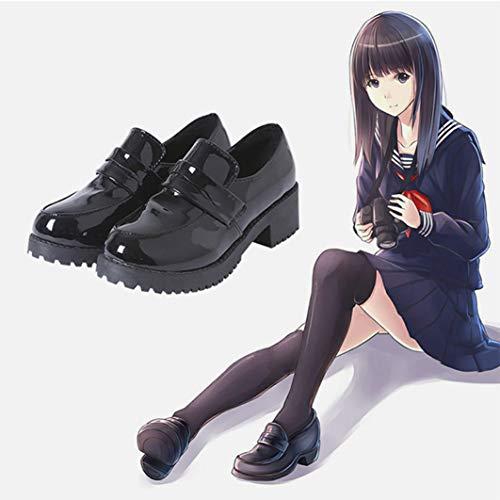 DuHLi Japanische Student Schuhe College Girl Lolita Student Schuhe Cospaly Schuhe JK Commuter Uniform Leder Loafer Schuhe,35 -