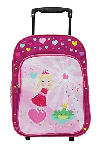 Idena 22047 - Rucksack Trolley mit 2 Rollen für Kinder, pink mit Prinzessinnen Motiv, optimal für Reisegepäck oder Spielsachen, ca. 40 x 28 x 17 cm