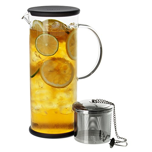 Forlife lucent glass iced tea jug with capsule infuser 1.360,8gram trasparente charcoal