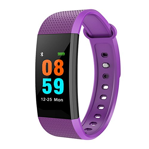 Sannysis Pulsera Actividad, Pulsera Inteligente con Pulsómetro Presión Arterial Reloj Inteligente Podómetro Pulsera Deportiva Reloj para Android iPhone iOS (Púrpura)