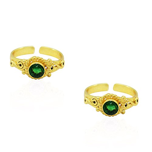 Frabjous Traditional Pair of Green Zircon Adjustable German Silver Toe Ring for...
