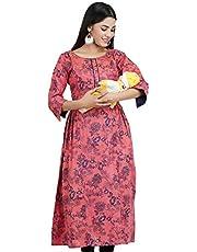 CEE 18 Women's Cotton Rayon A-Line Maternity Kurta/Easy Breast Feeding/Breastfeeding Kurti/Western Dress with Zippers for Nursing Pre & Post Pregnancy
