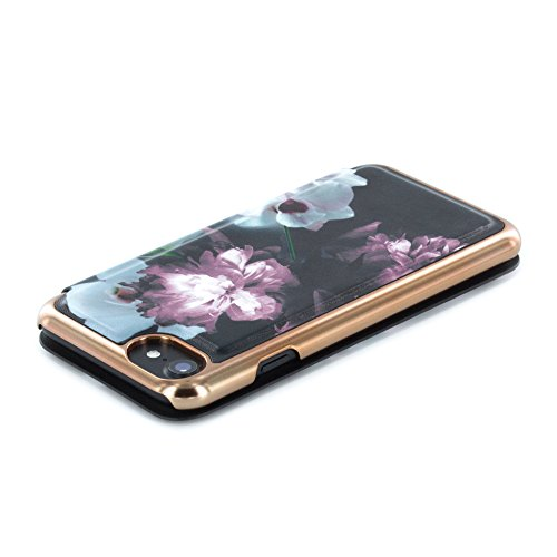 Official TED BAKER® SS16 iPhone 8 / 7 Case - Luxury Folio Case / Cover in Flower Design for Women with Built-In Interior Mirror for the Apple iPhone 8 / 7 - MARIEL - Nude ethereal posie (black)