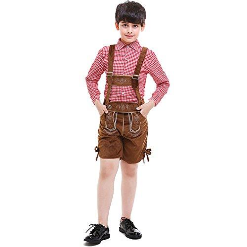 Für Festival Kostüm Jungen - Lolanta Oktoberfest Kostüm Bayerische Jungen Uniform Lederhosen Shorts + Hosenträgerhemd (116/122)