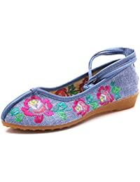 Zapatos de Tacón/Spring, Summer and Thick with Embroidered Small Slope and Versatile Shoes China Wind,Blue,35