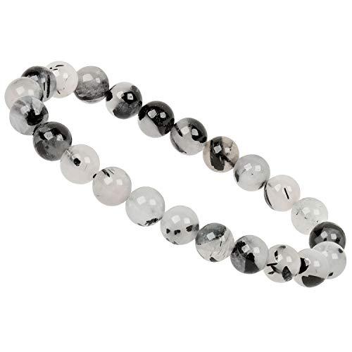PowerBead Edelstein Perlen Armband mit Turmalinquarz schwarz weiß Heilstein