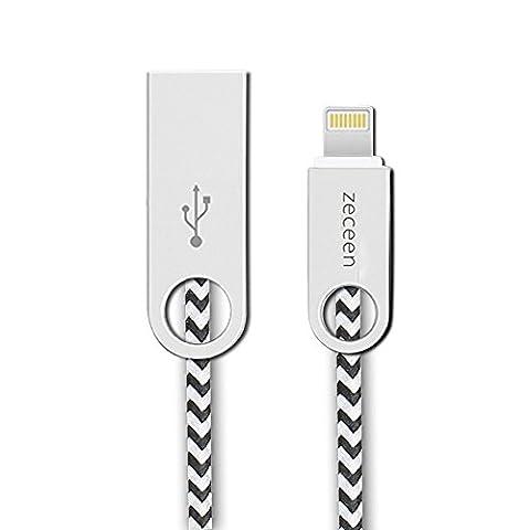 Zeceen iPhone Câble, 3.3 ft/1 m en nylon tressé cordon de charge Câble Lightning vers USB, une excellente Durée de vie Câble de charge et synchronisation USB pour iPhone se 7 7plus 6 6Plus 6S 6S Plus 5S 5 C 5, iPad Air, iPad Air 2/mini2 mini3 4, iPod Nano, iPad Pro et Plus