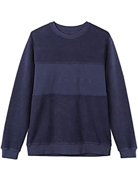 Stussy reverse fleece panel felpa uomo blu SMALL