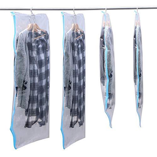 Yahee 4 sacchi sacchetti sottovuoto con gancio, buste sottovuoto per vestiti giacche cappotti riutilizzabili