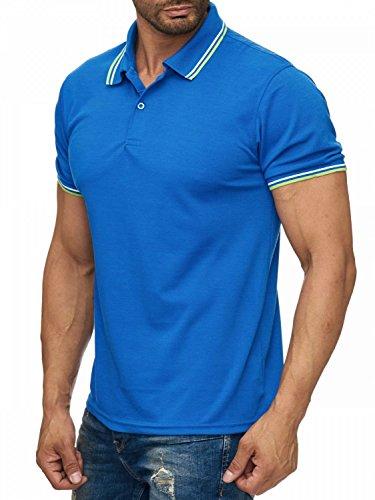 Herren Uni Kurzarm Kontrast Poloshirt mit Kragen Basic COLLEGE FEVER H1923 Blau
