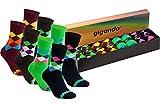 gigando | karo Baumwoll-Socken | bunte Strümpfe für Damen und Herren mit farbenfrohen Karomustern | Hand gekettelt | 8 Paar | je 2x navy, braun, bordeaux, grün | 43-46 |