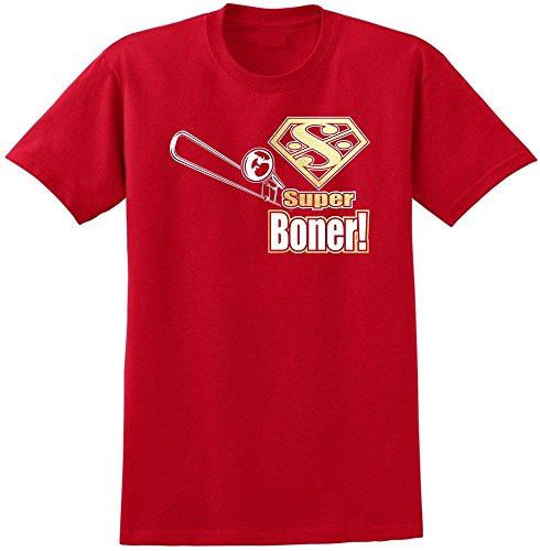 Trombone Super Boner - Red Rot T Shirt Größe 87cm 36in Small MusicaliTee (Valve Bass Trombone)