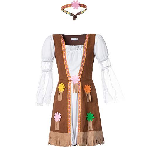 dressforfun 900515 - Mädchenkostüm Groovy Hippie Squaw, Kleid mit angenähter Weste in Wildlederoptik, inkl. Stirnband (140   Nr. 302575)