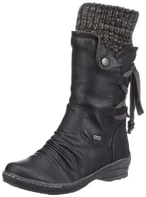 Rieker 90173-00, Damen Langschaft Stiefel, Schwarz (schwarz/black-grey / 00), 36 EU (3.5 Damen UK)