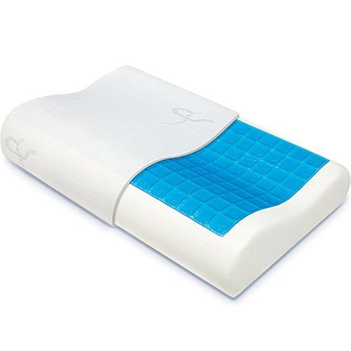 Supportiback® Almohada ortopédica terapéutica con contornos de espuma de memoria, gel disipador del calor, funda extraíble hipoalergénica lavable, diseñada médicamente para dolor de cuello y espalda