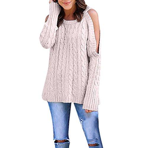Pull Femmes Hiver, HUHU833 Pull à épaules dénudées à manches longues décontracté lâche Mode Tops Sweater Rose