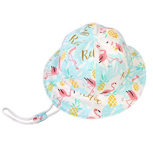 YONKINY Kinder Sonnenhut Sommer Unisex Baby UV-Schutz Sommerhut Baumwolle Atmungsaktiv Schirmmütze Bucket hat Fisherhut mit Kordelzug (Größe 52 für 3-7 Jahre) -