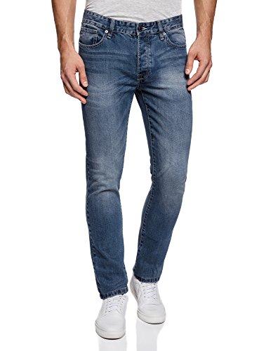 Oodji ultra uomo jeans slim fit basic, blu, 29w / 34l (it42 = eu29 = s)