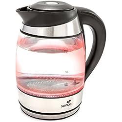 Senya SYBF-K011 bouilloire électrique température réglable Tea Colours avec filtre anticalcaire et sans fil avec corps en verre et éclairage intérieur LED avec couleurs 1,8L 2200W