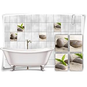 Medianlux Fliesenaufkleber Fliesenbild Zen Steine Sand Bambus Wellness SPA Aufkleber Sticker Deko Bad WC, 20x25cm
