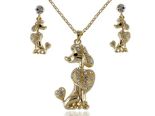 Alilang Gold Pudel Show Hund Swarovski Klar Crystal Strass Ohrring Halsketten (Outfits Pudel)