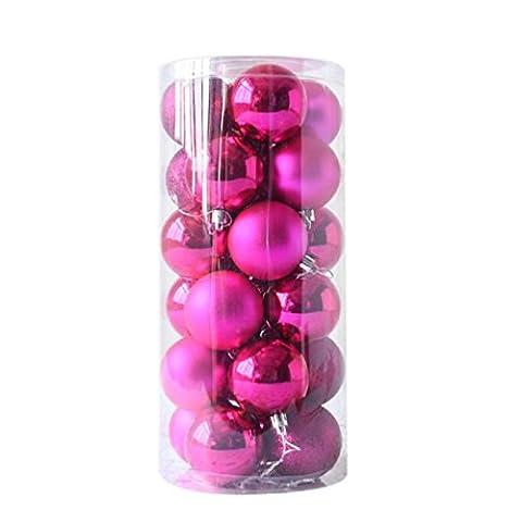 sunnymi Weihnachten 24pcs Weihnachtsbaum Dekoration Ball Christmas balls 4cm Party-Charme-Festival-Weihnachtskugeln hängende Verzierungen Dekor (4cm, Pink)