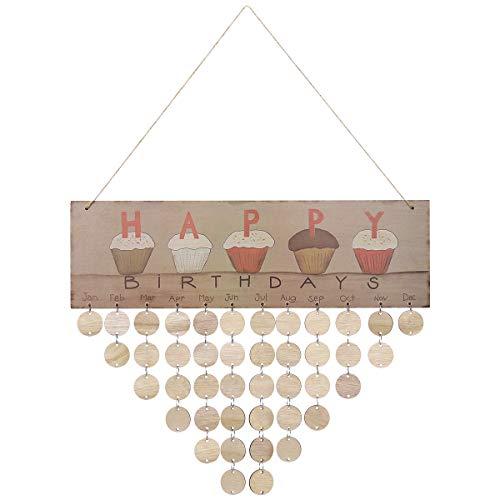 Vosarea Hölzerne Kalender Plakette Happy Birthday gedruckt Bunte Buchstaben hängen Brett Geburtstag Erinnerung Kalender (1 Plakette, 1 Seil, 50 runde Holzscheiben)