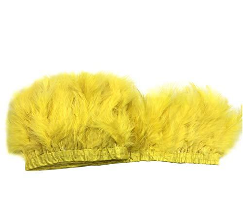 ERGEOB Voll Samt Huhn Federn Stoffstreifen 2 Meter - Ideen für die Bekleidung, Kostüme, Hüte. gelb (Gelb Hut Kostüm)
