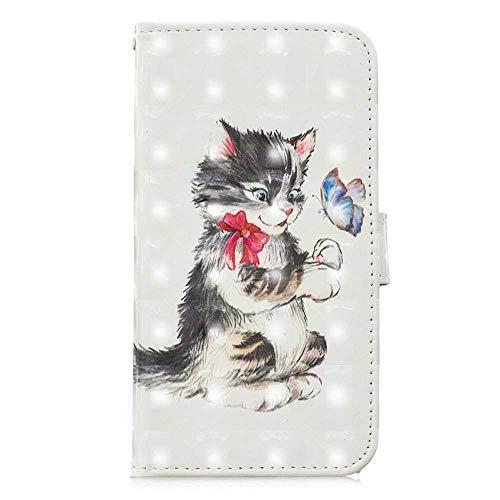 Bear Village® Hülle für Huawei Honor 8X, Magnetisch Adsorption PU Klapp Hülle mit Standfunktion, Brieftasche Stil Schutzhülle, Katze