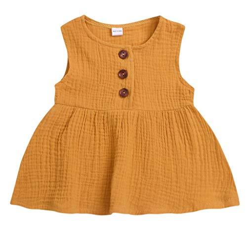 leinkind scherzt festes ärmelloses Kleid der Sommer-Prinzessin-Partei-Kleid (Gelb,110) ()