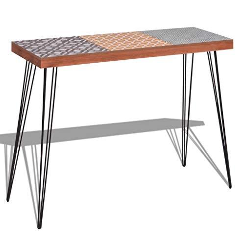 WT Trade Deluxe Konsolentisch Konsole Ablagetisch Braun   90 cm   MDF Stahl   Sideboard Vintage Flurtisch   Sekretär Tischkonsole Kommode Schminktisch Schreibtisch
