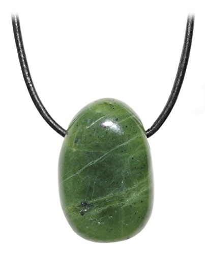 Kaltner Präsente Unisex-Collar con Colgante de Jade Piedra piedrapreciosa Tambor de Canadá en el Collar de Cuero Correa de Piel (30 mm)