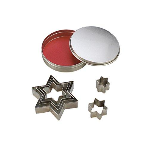 efco Ausstecher, Stern, Metall, Silber, 10/2,5-8cm, 7Stück (Metall-ausstechformen Sterne)