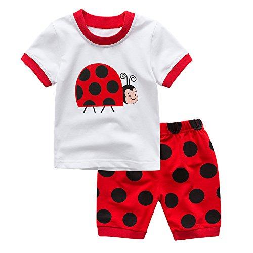 Wongfon Kinder Frühling Sommer Kleidung Outfit, Jungen Mädchen Niedlichen Tier Print Tops Polka Dot Kurzarm T-shirt + Shorts Outfit Pyjamas Nachtwäsche für 2-6 Jahre (Pyjama-shorts Polka Dot)