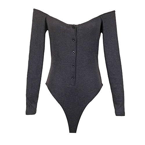 Frauen Langarm One Piece Kragen Sexy Slim Jumpsuit Frauen Schulterfreies Einteiliges Kleid Frauen T-Shirt Bottoming Shirt