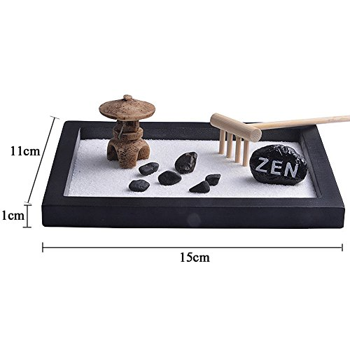 VOOYE Mini Meditation Zen Garden Tabletop Zen Garden with Natural Sand Rocks Candle Holder Rake Bridge Statue Feng Shui Home Office Decor  Black