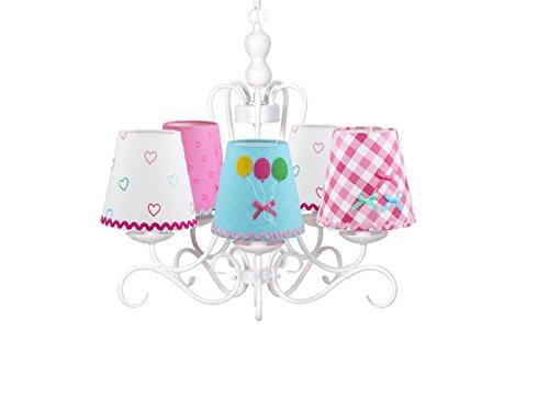 Kinder Kronleuchter / Lüster weiß, bunten Stoffschirmchen in verschiedenen Designs, Lief! 12031Set - 2