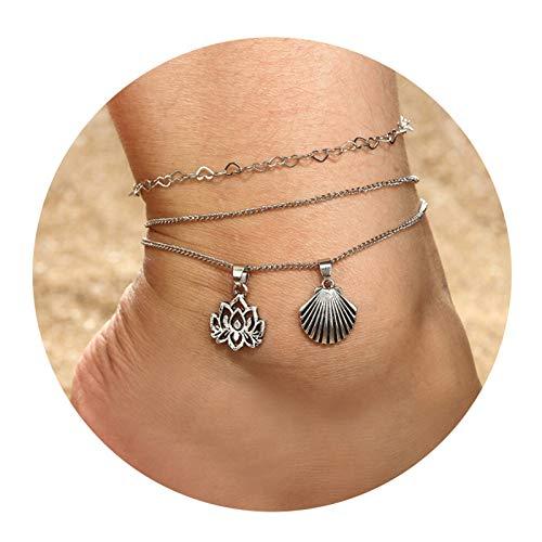 Aienid cavigliera argento donna hohl lotus conchiglia argento cavigliera per donne lunghezza:20x1.7cm