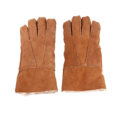 huhe aus Echte Schaffell Leder Sheepskin Winter Handschuhe Fell Futter Fingerhandschuhe -Kamel ()
