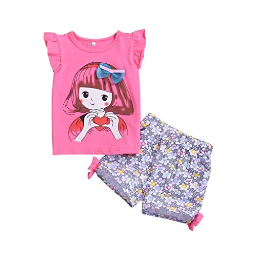 inkind Outfits Set Süßes Mädchen Drucken Tops Lässige Shorts Outfits Set(Pink,6-12 Monate) ()