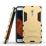 tinyue® Handyhülle für Meizu Pro 6 Plus, Hülle 2 in 1 Material Harte Schwer doppelte kratzfester Handyfall im Freienhandyfall Iron Man Rüstung mit Kickstand Case, Gold