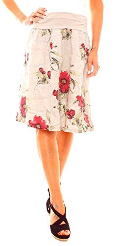Damen Sommer Basic Leinen Stoff Glocken Rock Jupe Kurz Knielang Ausgestellt A-Linie Stretchbund Geblümt Blumen Muster Print One Size Beige