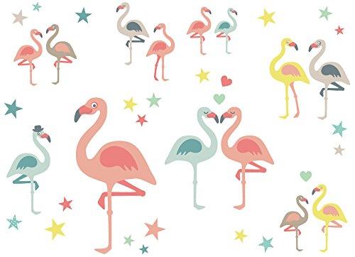 anna wand Wandsticker FUNNY FLAMINGOS - Wandtattoo für Kinderzimmer / Babyzimmer mit fröhlichen Vögeln in Pastell-Tönen - Wandaufkleber Schlafzimmer Mädchen & Junge, Wanddeko Baby / Kinder