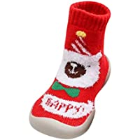 Gusspower Navidad Calcetín Lindo de Algodón Animal de Dibujos Animados Reno de Santa Claus Antideslizante Unisex Calcetines de Navidad Regalos para Niño 0-3T